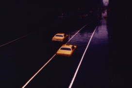 Taxicabs on an empty street