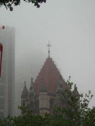 Trinity Church tower in the fog