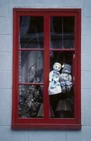 Window with rag dolls