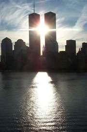 World Trade Center towers on NYC skyline