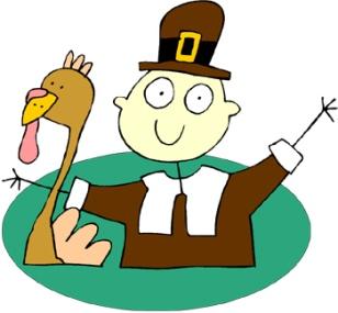 Pilgrim holding a turkey