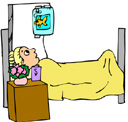 Patient in a Hospital Bed with IV