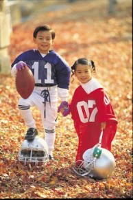 Little Kids in Football Jerseys