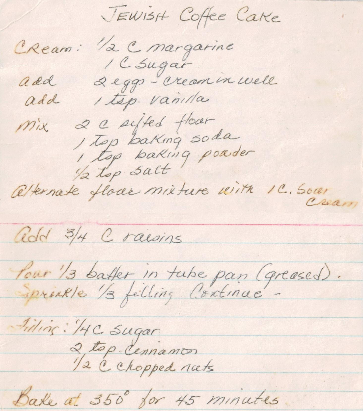 Peg Myers Jewish Coffee Cake Recipe