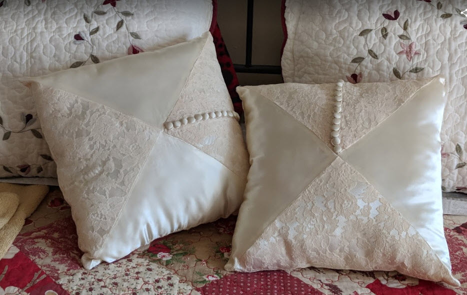 Pillows from moms dress