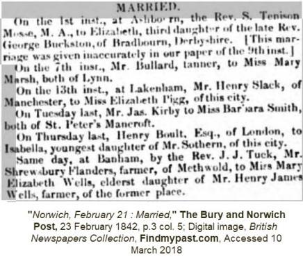 FLANDERS Shrewsbury - Marriage to Mary Elizabeth Wells - 1842