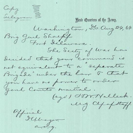 Telegram From Sec of War