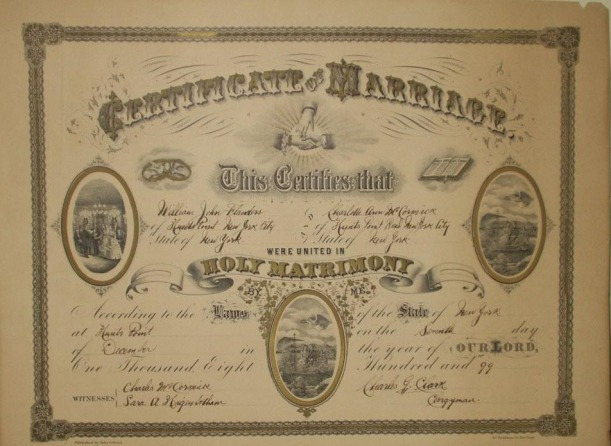 Wm John & Charlotte Marriage Certificate 1899
