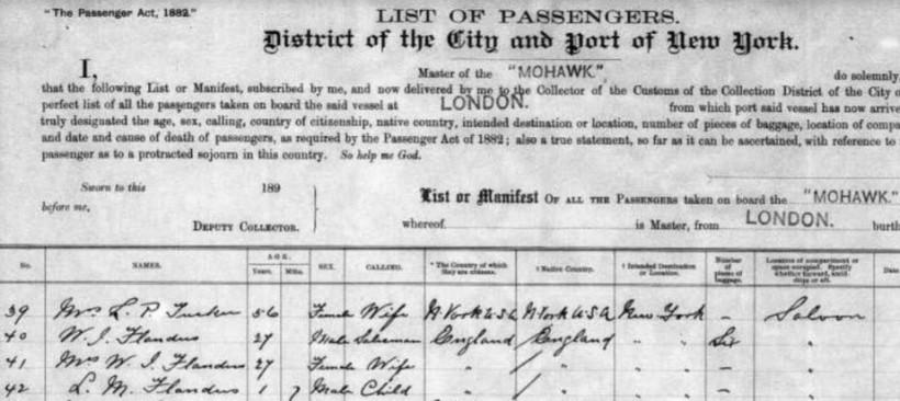 MoHawk Passenger list 1892