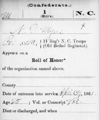 MYERS N.D. - NC Civil War Roll of Honor